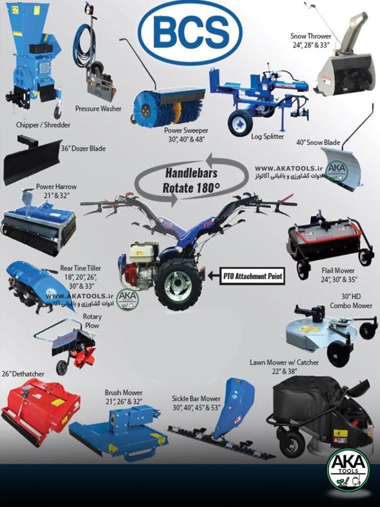 ادوات الحاقی تراکتور دوچرخ BCS ایتالیا